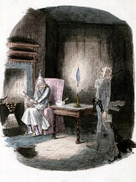 """Illustration of Charles Dickens' """"A Christmas Carol"""" Showing Scrooge and Marley's Ghost"""