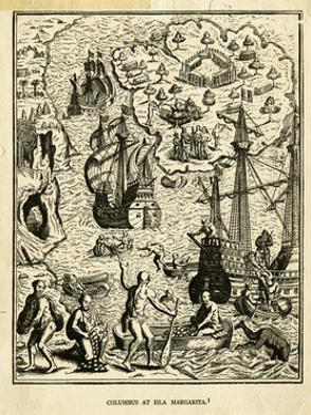 Illustration of Columbus at Isla Margarita