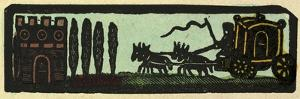 Illustration of English Tales Folk Tales and Ballads. a Coach Drawn by Four Horses on the Road to a
