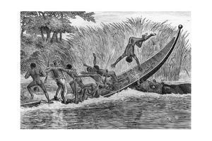 Illustration of Engraged Hippopotamus Upsetting a Boat