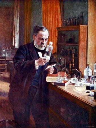 Illustration of French Chemist Louis Pasteur Working in His Laboratory
