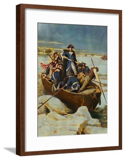 Illustration of George Washington and Men on Frozen Potomac--Framed Giclee Print