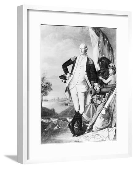 Illustration of George Washington Standing next to Cannon--Framed Giclee Print