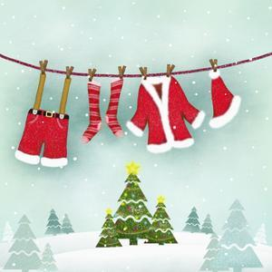 Illustration of Santa Clothes Hanging Outside
