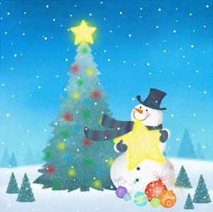 Illustration of Snowman Next to a Chirstmas Tree