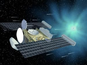 Illustration of Space Probe Stardust Approaching Comet Wild 2