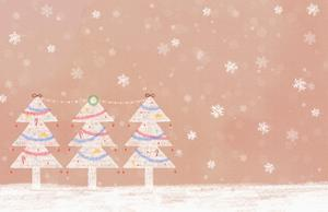 Illustration of Three Christmas Trees in a Row