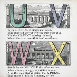 Illustrations Of Letters U, V, W and X: Urchin, Viaduct, Whistle and X-press