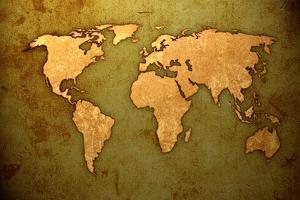 Aged World Map-Vintage Artwork by ilolab