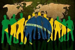 Brazil - Flag Style Of People Silhouettes And World Map Background by ilolab