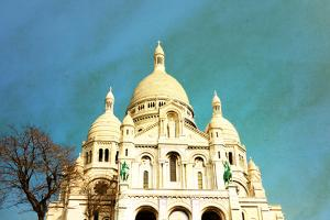 Retro Sacre-Coeur Church in Montmartre,Paris by ilolab