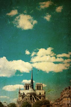 Retro Style Notre Dame Cathedral in Paris France (French for Our Lady of Paris) by ilolab
