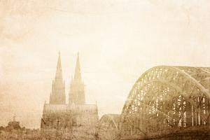 Retro Style View of Gothic Cathedral in Cologne, Germany by ilolab