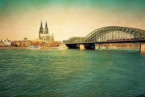 View of Retro Gothic Cathedral in Cologne, Germany by ilolab