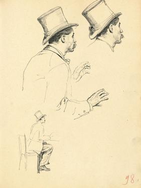 Studies for 'A Parisian Cafe': Sideview of Man's Head with Hat, C. 1872-1875 by Ilya Efimovich Repin