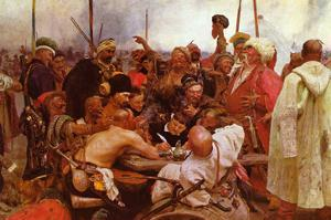 Zaraporoski Cossacks Send the Turkish Sultan Mahmoud Iv a Letter by Ilya Repin