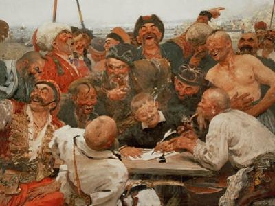 The Zaporozhye cossacks write a mocking letter to the Turkish Sultan. 1880-1881. by Ilya Yefimovitch Repin