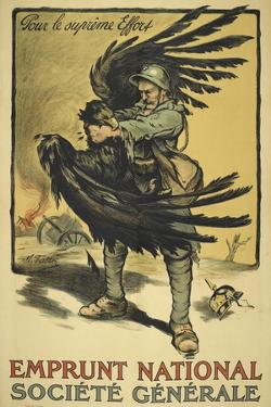Image Of a French Soldier Strangling a Large Bird (Representing Germany ?).