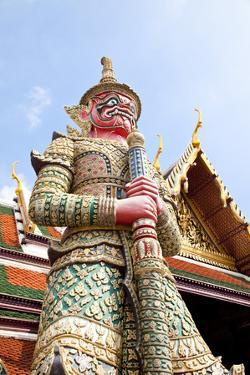 Thailand, Bangkok, Grand Palais, Wat Phra Kaeo, Door God by IMAGEMORE Co