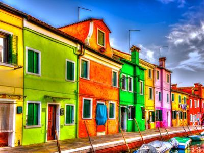 Colorful Houses in a Raw at Burano Island near Venice Italy. HDR by imagIN photography