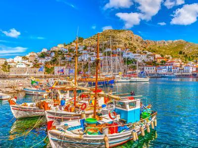 Fishing Boats in the Port of Hydra Island in Greece. HDR by imagIN photography