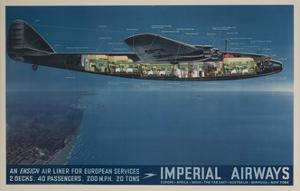Imperial Airways Travel Poster, Ensign Air Liner Cutaway