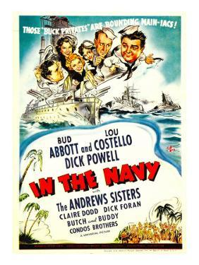In the Navy, Dick Powell, the Andrews Sisters, Bud Abbott, Lou Costello on Midget Window Card, 1941