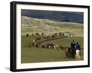 Icelandic Horses and Riders, Riding Near Landmannalaugar, Iceland by Inaki Relanzon