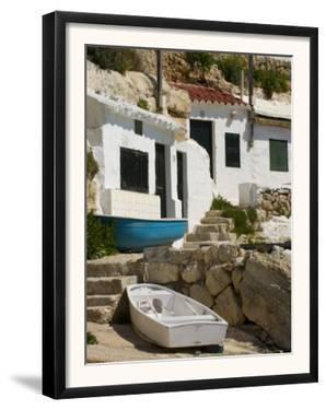 Village Houses Cut into the Cliffs, Cala D'Alcaufar, Menorca Island, Balearic Islands, Spain by Inaki Relanzon
