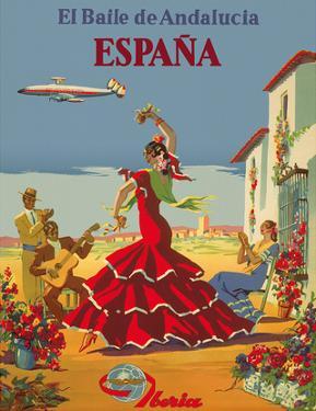 España (Spain)- Iberia Air Lines of Spain - Flamenco Dancers by Inc. Island Art