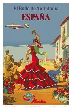 España (Spain)- Iberia Air Lines of Spain - Flamenco Dancers by Inc^ Pacifica Island Art