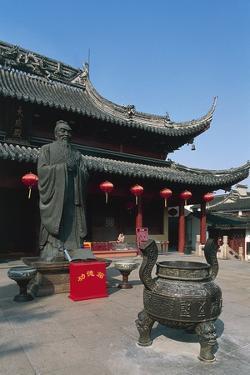 Incense Burner and Statue of Confucius