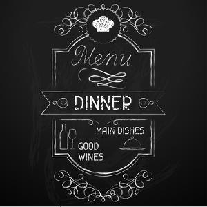Dinner on the Restaurant Menu Chalkboard by incomible