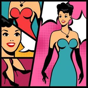 Illustration of Retro Girl in Pop Art Style by incomible