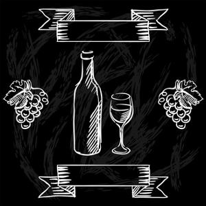 Restaurant or Bar Wine List on Chalkboard Background by incomible