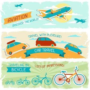Set Of Horizontal Travel Banners In Retro Style by incomible