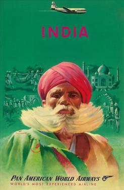 India - Sikh in Red Turban - Pan American World Airways (PAA)