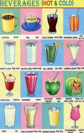 Indian Educational Chart - Beverages, Drinks