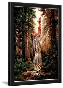 Indian Maiden Pray in Woods Art Print Poster