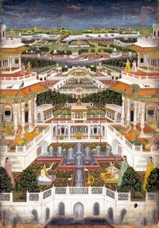 Indian Miniature Painting of a Lavish Palace Complex