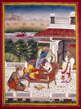 Indian Miniature Showing Krishna and a Princess on a Couch, 18th Century