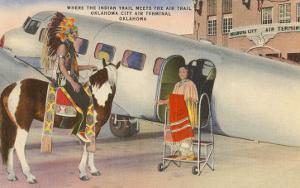 Indian on Pinto with Airplane, Oklahoma City, Oklahoma