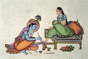 Radha and Krishna by Indian School