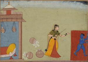 Yashoda Chastises Her Foster Son, Krishna, page from a manuscript of the Bhagavata Purana, c.1600 by Indian School