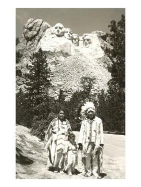 Indians in front of Mt. Rushmore, South Dakota