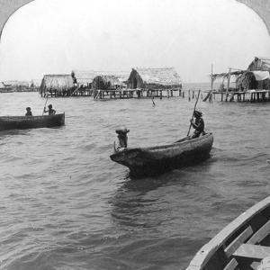 Indians in Log Canoes, Lake Maracaibo, Venezuela, C1900s