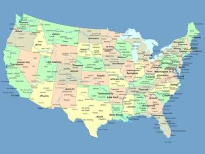 Usa Map With Names Of States And Cities by IndianSummer