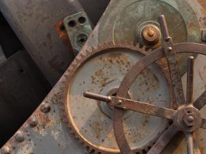 Industrial Metal Gears with Rusty Surface