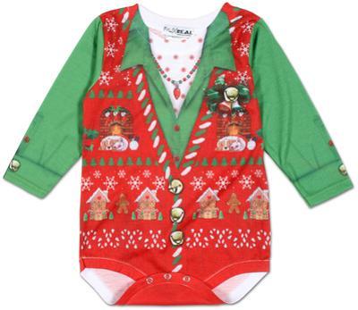 Infant Girls: Ugly Xmas Vest Long Sleeve Romper