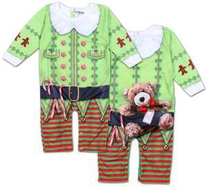 Infant Long Sleeve: Christmas Elf Romper with Legs